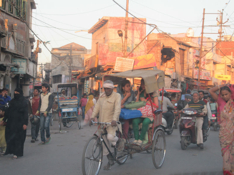 Riding in a rickshaw